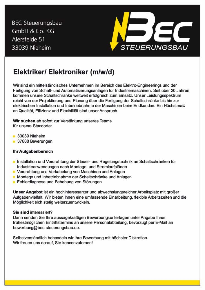 Elektriker / Elektroniker (m/w) | BEC Steuerungsbau
